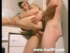 hung lad breeds his mate in the kitchen