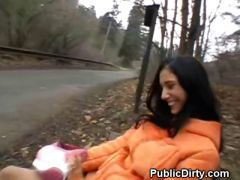 Brunette Flashes Tits And Pussy Plus Finger Fucked In Public