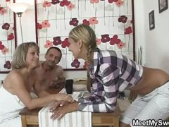 Horny mom and dad hot sex with blonde teen