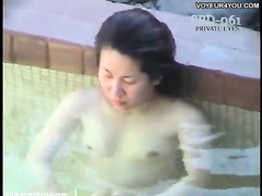 Outdoor bath naked women show