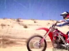 Naked hotties do some extreme motocross in XXX reality show