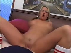 DearSX.com - Horny Blond Get S Her Fill Pink Kitty