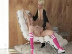 two hot chicks fucking in the office