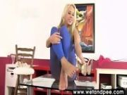 Carla Wets Her Blue Pantyhose In This Clip
