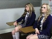 Four schoolgirls banged by their teacher in the classroom