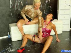 Glamcore lesbos squirted with bukkake