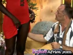 Big ass African footjobs and rides a white cock