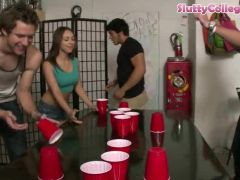 Amateur college girls playing flip cup and get fucked