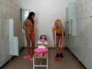 SEXY Euro girls fucked in the sports locker room