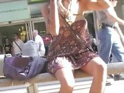 Asian flashing in public no pants