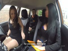Instructor banging babes in car