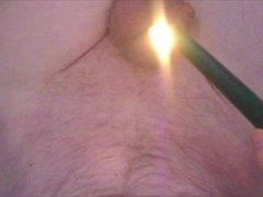 Green wax on my cock and balls