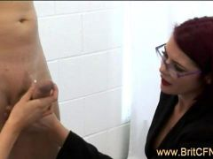 Four bad sexy CFNM girls torment naked chained up guy