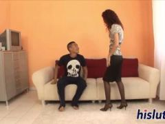 Kinky redhead in stockings gets nailed