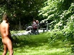 Naked Man Jerks His Fat Cock In The Woods