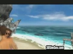 3D couple fucking at the beach