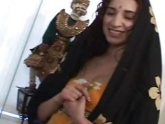 Horny indian girl with hairy pussy doing threesome