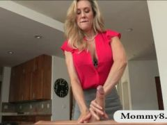 Busty MILF Brandi Love threesome session on massage table
