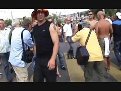 Full public nudity in crowd