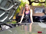 1.XXXPAWN. Blonde Bimbo Tries To Sell Car. Sells Herself