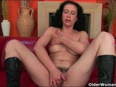 Hairy pussy and pits on a cute mature model