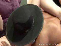 Horny clothed women use naked men