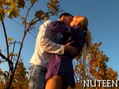 Cute babe is making out in the fall