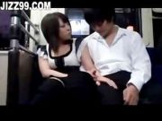 horny girlfriend gives blowjob to bus passenger