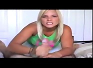 Erotic blonde combines dirty talk and handjob
