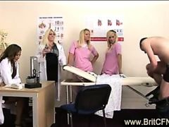 Four babes play medical games with CFNM guy