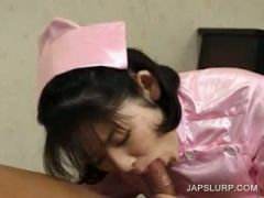 Close-up with asian maiden giving blowjob
