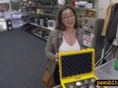 Woman with glasses sells her watches and pounded by pawn guy