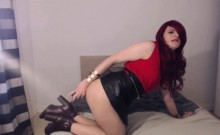 Red head shemale drinks her hot sperm