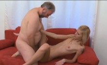 Young gal gets her pussy ready for old hard ramrod