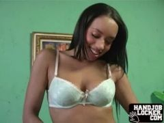 Ebony chick with big tits  gets naked