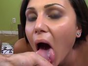 Straight Haired Brunette Chick Unclothed and Face Jizzed