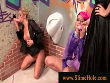 Bukkake models covered in cum and fucked by Strap on