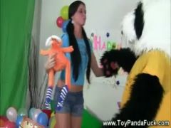 Toypanda with bubbly teen girl