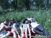 Teens on a picnic have sex in a group video