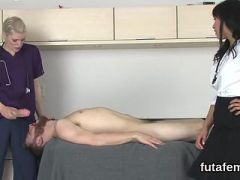 Sweeties nail men ass hole with huge strap-on dildos and squirt semen