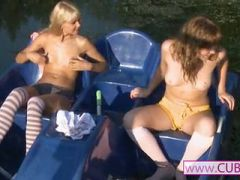 loly and eva naked on river