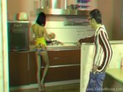 STEREO!!!3D couple in the kitchen