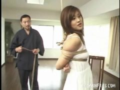 Increasing the rope bondage of the Japanese chick