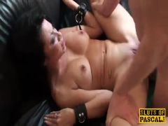 Dominating facefucked submissive swallows cum