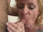 Blonde mature woman jumps on fat cock