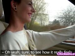 Euro girlfriends in car licking pussy