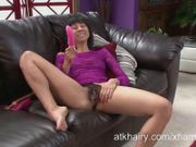 Vivi Marie and her two toys get down on her furry pussy