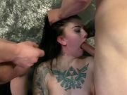 Tattooed Beauty Face Fucked By Two Dudes