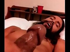 Mixed guy edges dripping cock