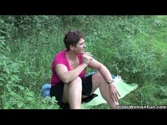 The great outdoors wets grandma\'s appetite for cock and cum  HD